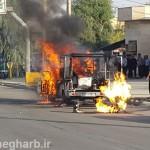 خودرو وانت بار در گیلانغرب آتش گرفت+ تصاویر
