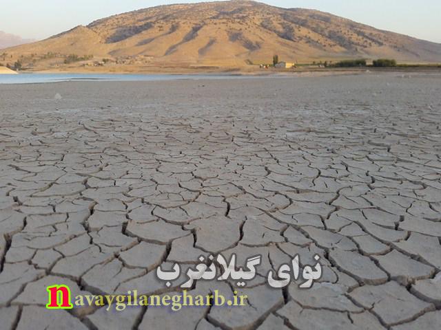 کاهش شدید آب سد سراب گیلانغرب وهشدار به مسولان +تصاویر