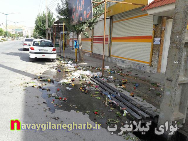 ریختن زباله به  جوی  آب  سطح  شهر گیلانغرب!+ تصاویر